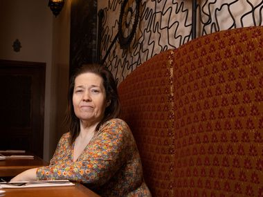 Owner Susan Benoikken poses for a portrait at Medina Oven & Bar, a Moroccan-Mediterranean cuisine restaurant located in Victory Park in Dallas.