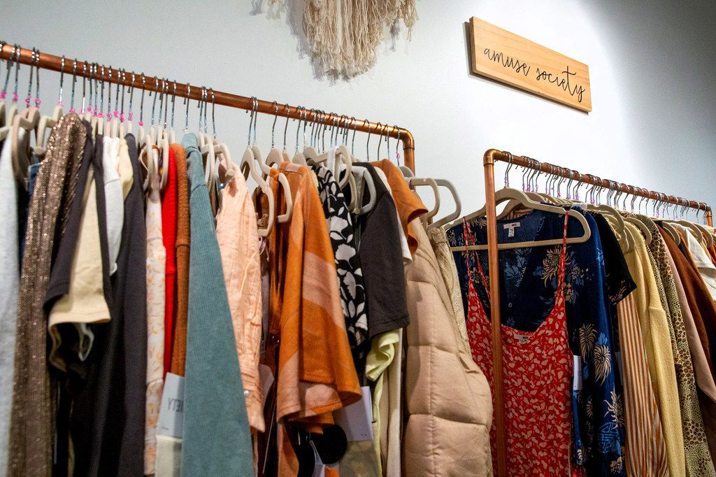 The collection from Amuse Society is displayed in the Dreamcatcher Sales showroom at Fashion Industry Gallery in Dallas.