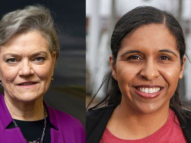 Kim Olson (left) and Candace Valenzuela are competing in the runoff election to be the Democratic nominee for Texas' 24th Congressional District.
