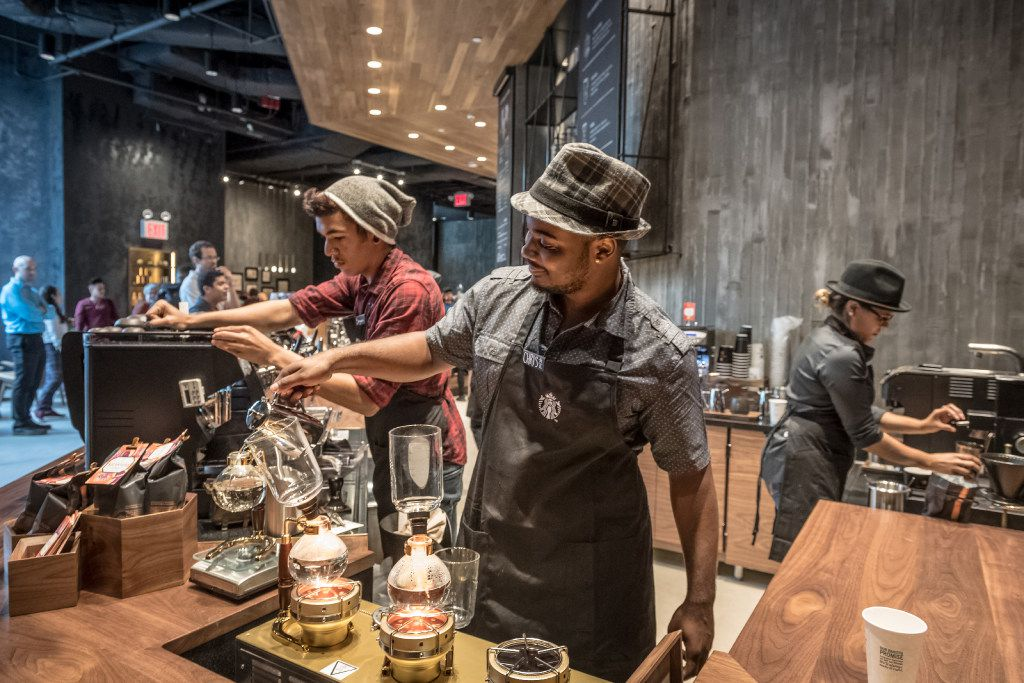 Starbucks Reserve bars serve the Seattle company's hard-to-get coffees. We don't yet know what the Uptown Dallas shop will look like. Pictured here: a Starbucks Reserve bar in New York.