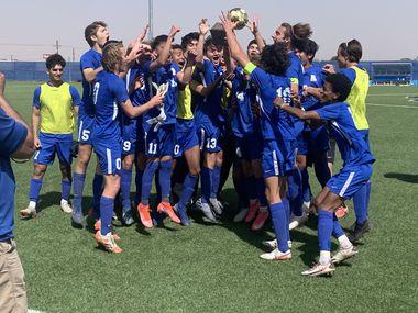 The Allen boys soccer team celebrates a 3-2 win over El Paso Eastlake in Friday's Class 6A Region I final.
