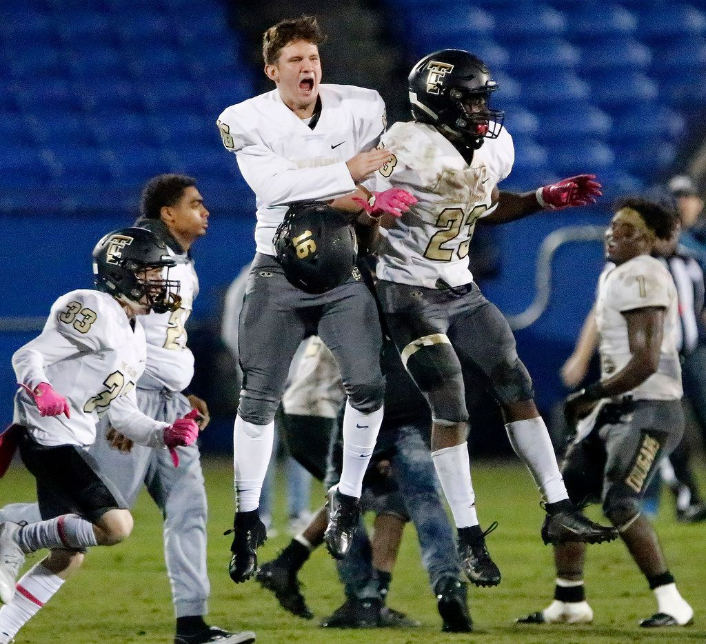 The Colony's Nick Young (16) and Cameron Pair (23) leap in celebration after a 21-14 win over Frisco Lone Star last season. (Stewart F. House/Special Contributor)