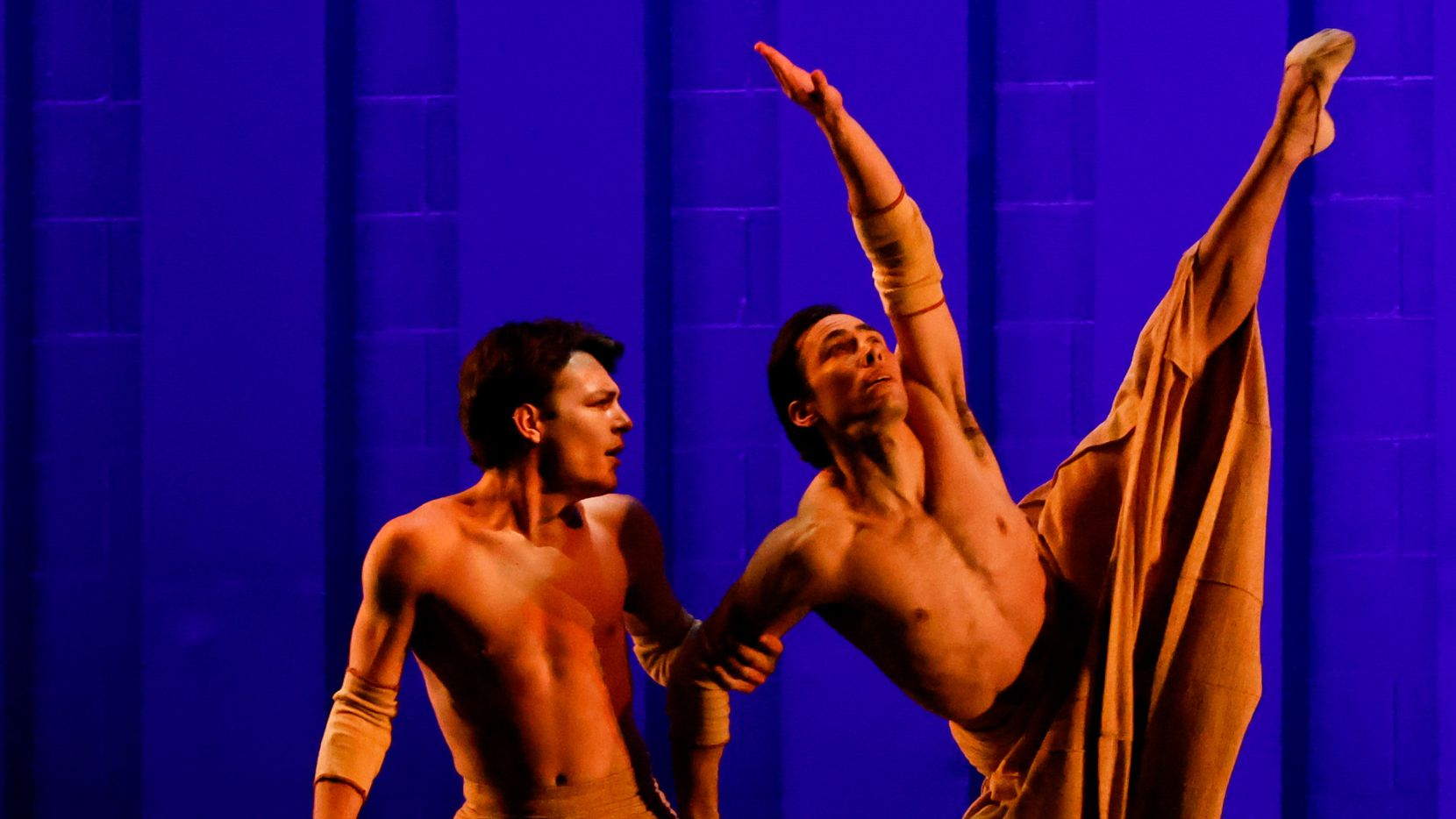 """Dancers with Bruce Wood Dance perform 'Hide Me Angel"""" during """"Together We Dance"""" at the Annette Strauss Square in Dallas on Friday, March 26, 2021."""