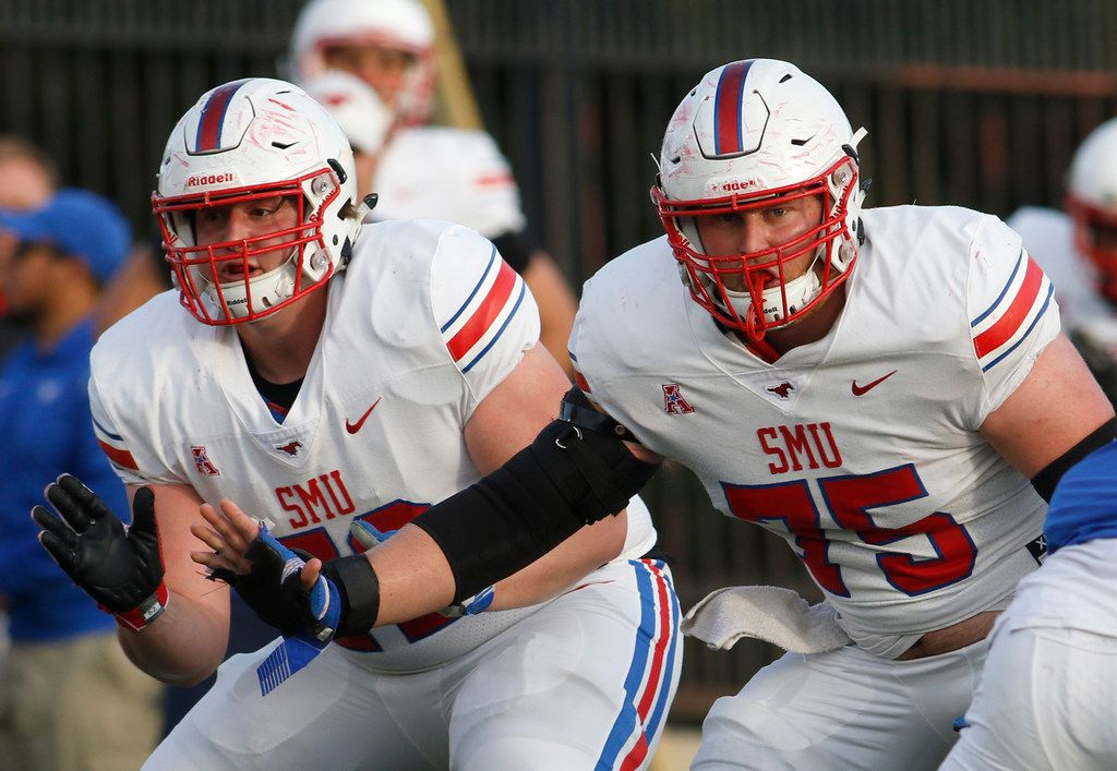 """SMU Mustangs offensive linemen Nick Dennis (72) and Hayden Howerton (75) work in tandem to keep the pocket clean for quarterback Austin Upshaw (17) during an offensive drive. The SMU Mustangs Football team held an """"open practice"""" in place of the originally scheduled spring game at SMU's Pettus Practice Fields in Dallas on April 12, 2019. (Steve Hamm/ Special Contributor)"""