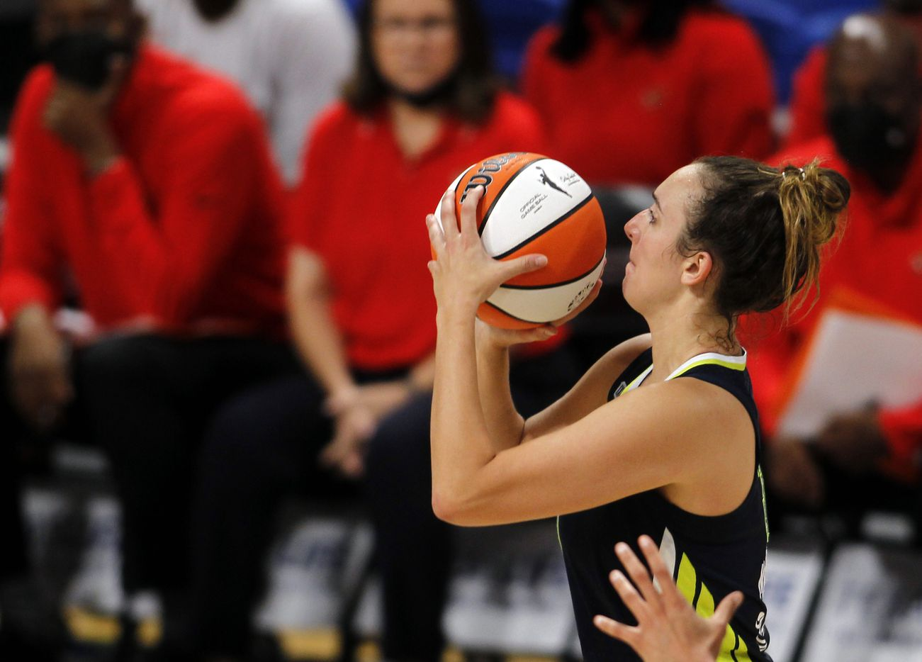 Dallas Wings guard Marina Mabrey (3) eyes a shot during first half action against the Indiana Fever. The Dallas Wings hosted the Indiana Fever for their WNBA game held at College Park Center on the campus of UT-Arlington on August 20, 2021. (Steve Hamm/ Special Contributor)