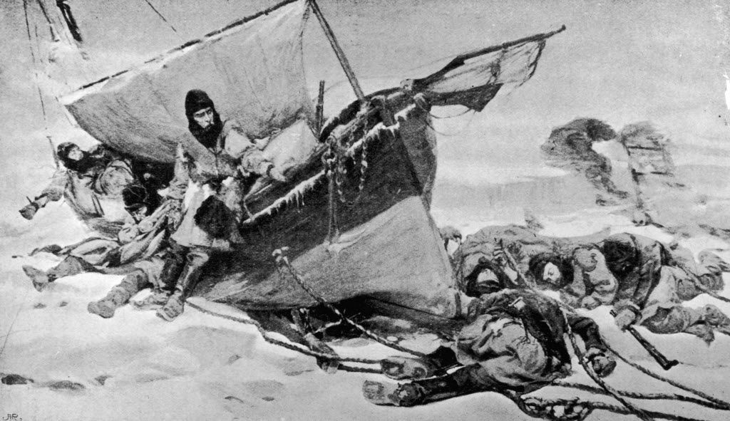 A painting by W. Turner Smith depicts members of the Arctic expedition led by British explorer Sir John Franklin  on their attempt to discover the Northwest Passage.