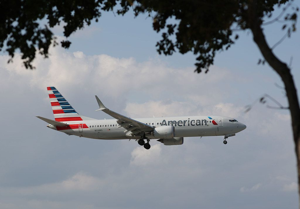 MIAMI, FL  - MARCH 12:   An American Airlines Boeing 737 Max 8 prepares to land at the Miami International Airport on March 12, 2019 in Miami, Florida. The European Union along with other nations have grounded all Boeing 737 Max 8 and Max 9 jets, after the crash of a Max 8 being flown by Ethiopian Airlines that killed 157 people on Sunday. (Photo by Joe Raedle/Getty Images)