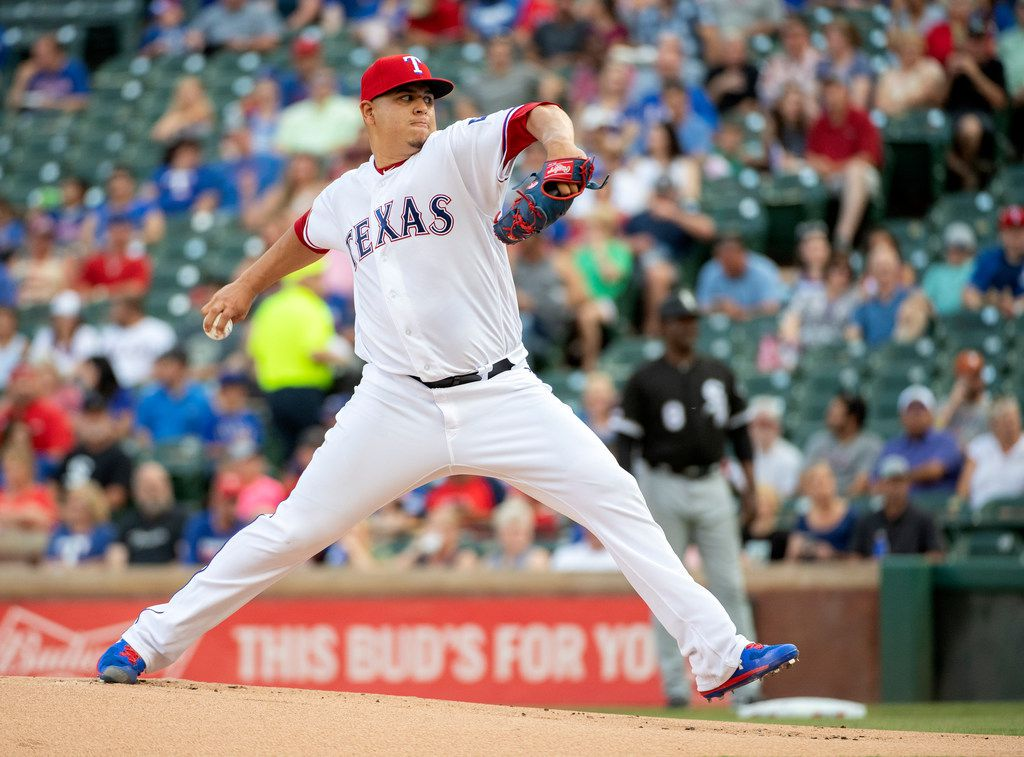 Texas Rangers starting pitcher Ariel Jurado works against the Chicago White Sox during the first inning of a baseball game Friday, June 21, 2019, in Arlington, Texas. (AP Photo/Jeffrey McWhorter)