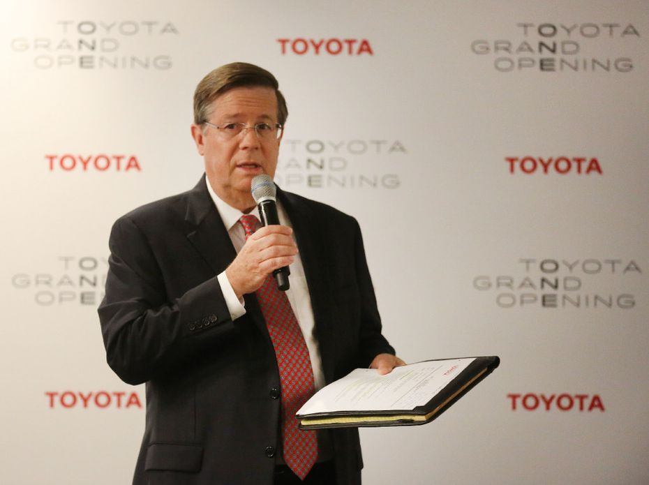 Toyota CEO Jim Lentz talks with the media at the grand opening of the Toyota headquarters in Plano, Texas, photographed on Thursday, July 6, 2017.