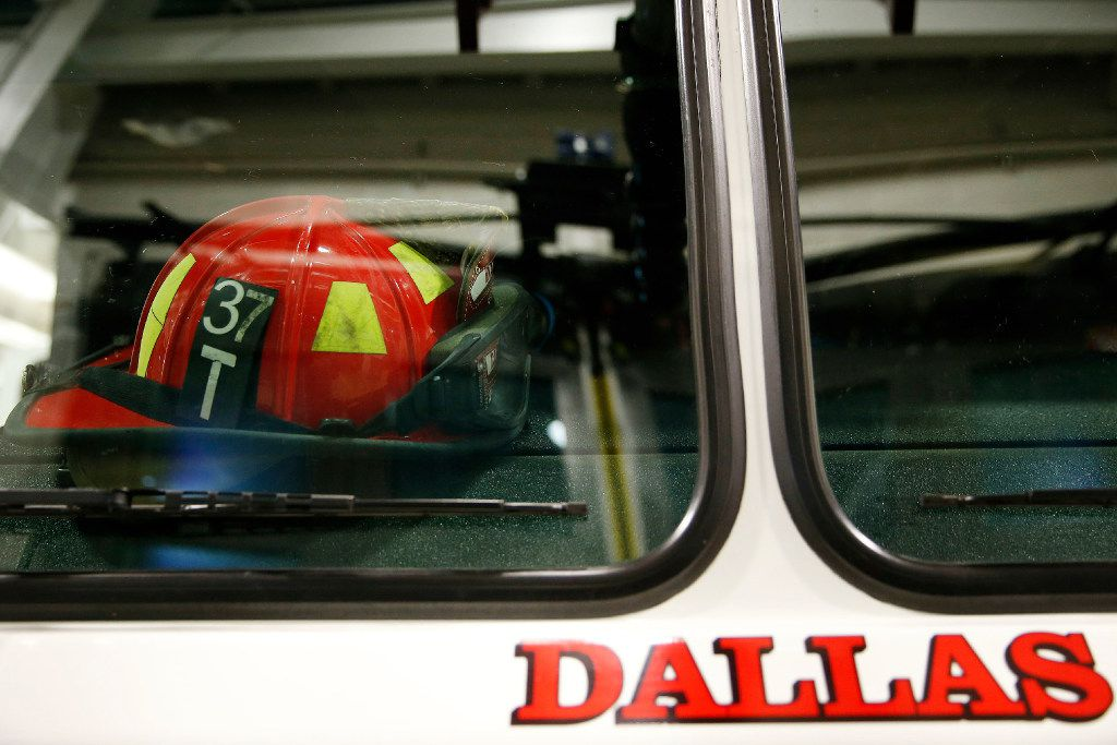 A helmet remains during a shift change at Dallas Fire-Rescue Department fire station 37 at 6780 Greenville Avenue in Dallas Wednesday March 2, 2016. (Andy Jacobsohn/The Dallas Morning News)