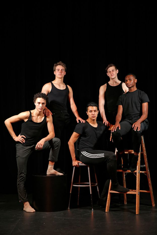 From left, Kade Cummings, 18, Zane Unger, 17, Michael Garcia, 18, Todd Baker, 18, and Ricardo Hartley, 18, pose for a photograph at Booker T. Washington High School for the Performing and Visual Arts in Dallas, Thursday, May 11, 2017. They have been accepted to attend the Juilliard School in New York City.