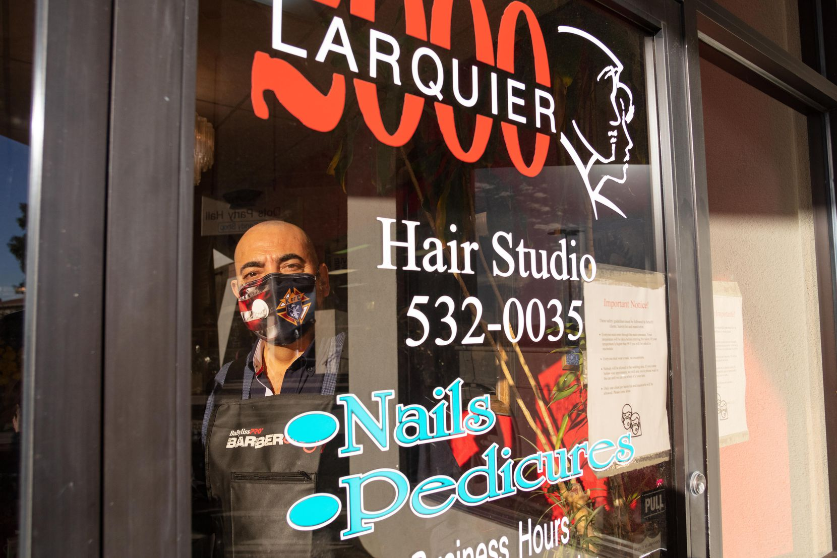 Martin Larquier, owner of Larquier 2000 Hair Salon in El Paso, has been struggling keeping his salon open. While taking all sanitary precautions, he also checks his clients' temperatures and asks if they have any COVID-19 symptoms before they enter the salon.