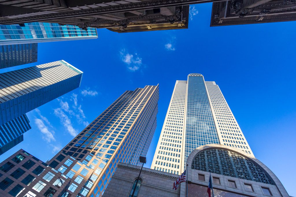 This is an iStock image of tall buildings in downtown Dallas. Downtown Dallas