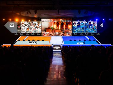 The Dallas Fuel play against the San Francisco Shock during the season-opening weekend of the Overwatch League on Feb. 9, 2020, at Esports Stadium in Arlington.