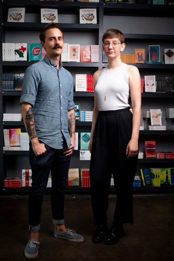 Will Evans, executive director of Deep Vellum Publishing, and Sara Balabanlilar, marketing and sales director, pose for a photograph at Deep Vellum Books in Dallas on July 9, 2019.