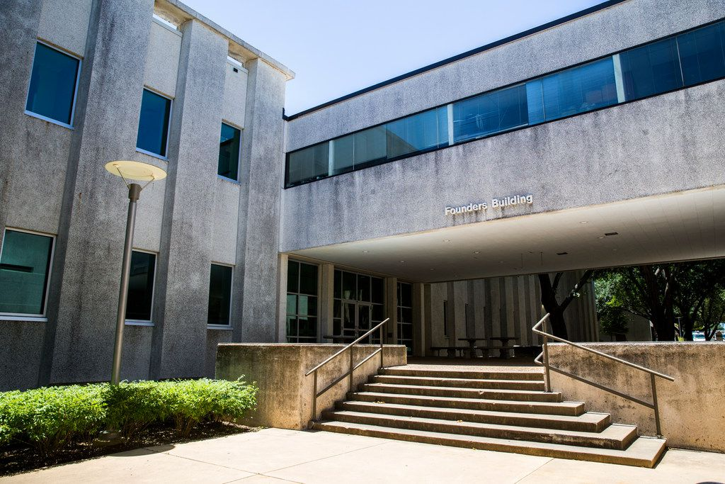 The north entrance to the Founders Building, where research for the Apollo 11 mission took place, stands on the UTD campus on Friday, July 19, 2019 in Richardson. The building has been updated since the launch.