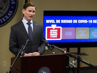 Dallas County Judge Clay Jenkins spoke about a surge of COVID-19 cases in October. This week, the county moved its risk level back up to red as the delta variant of the virus and a slowing vaccination rate have contributed to an increase in cases and hospitalizations.