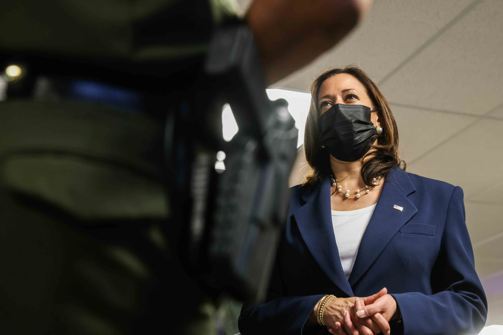Vice President Kamala Harris visited U.S. Customs and Border Protection's El Paso central processing center on Friday.