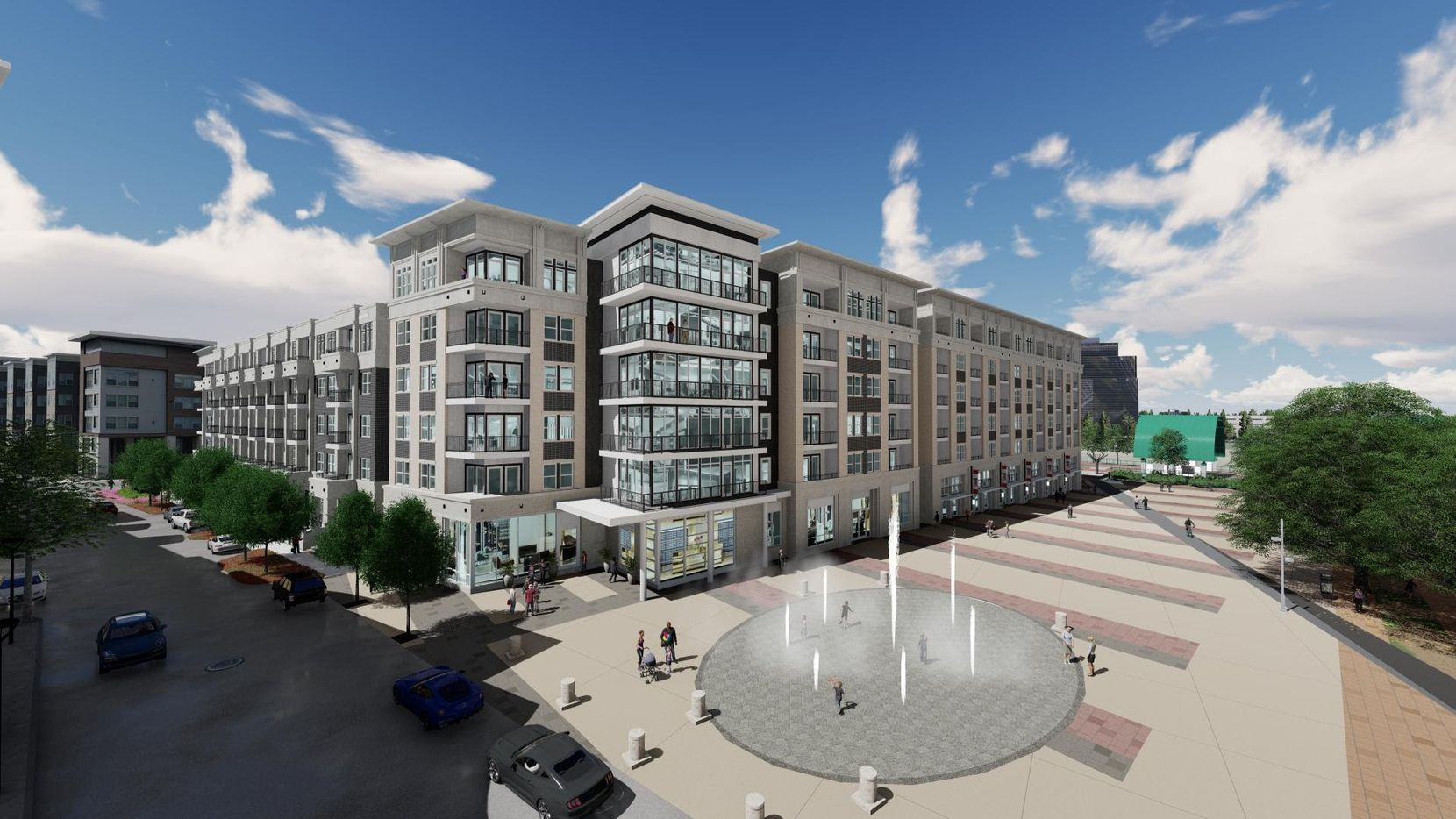 The Ovation at Galatyn Park apartments are under construction next door to DART's light rail station.