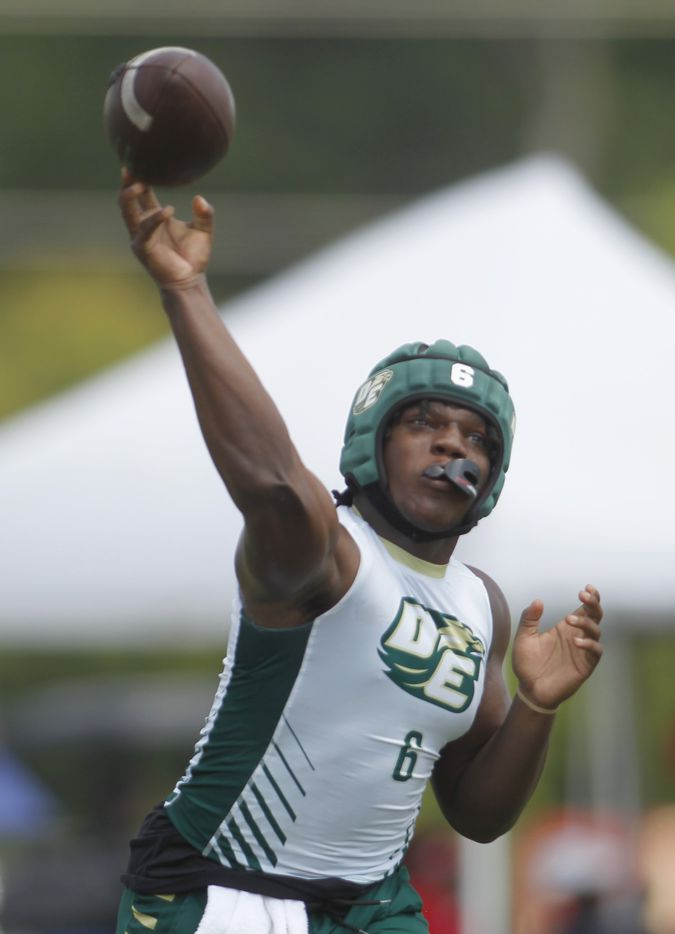 DeSoto Matt Allen (6) launches a long pass downfield during day 1 competition against Harlingen. The state 7 on 7 football tournament attracted athletes from schools throughout the state. The competition brackets for Day 1 competition was held at Veterans Park in College Station on June 25, 2021. (Steve Hamm/ Special Contributor)