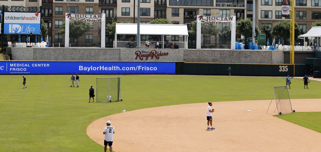 A view of the Choctaw Lazy River from the field at Dr Pepper Ballpark in Frisco. (Vernon Bryant/Staff Photographer)