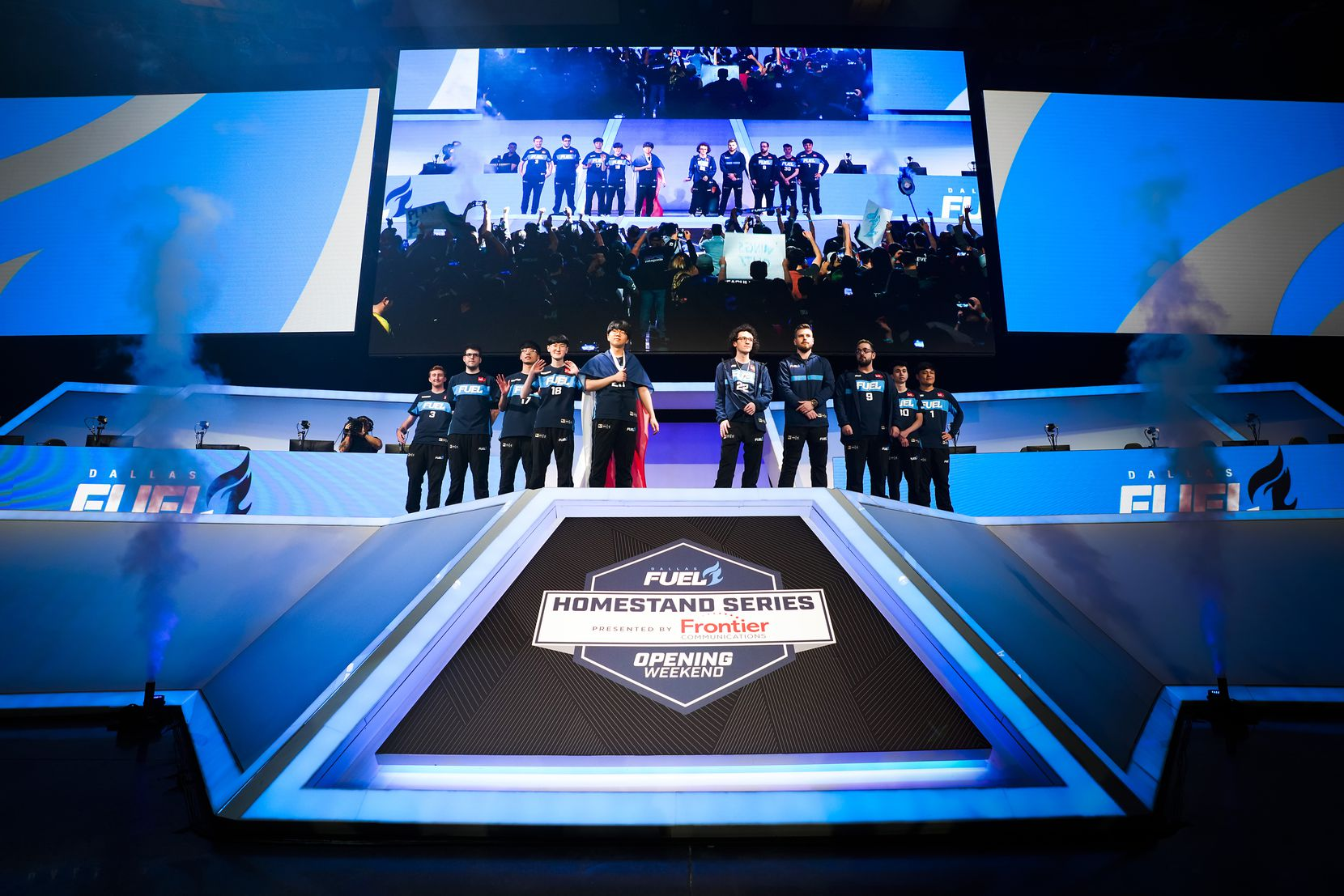 Members of the Dallas Fuel take the stage for a Overwatch League match against the Los Angeles Valiant at the Arlington Esports Stadium on Saturday, Feb. 8, 2020, in Arlington.