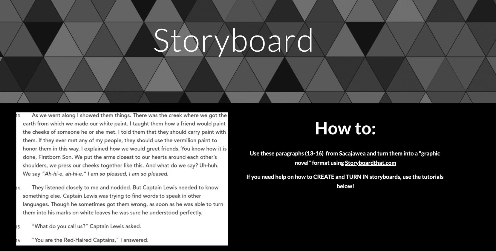 Mesquite teacher Laura Claybrook's class website features an assignment in which students make their own storyboards using online tools.