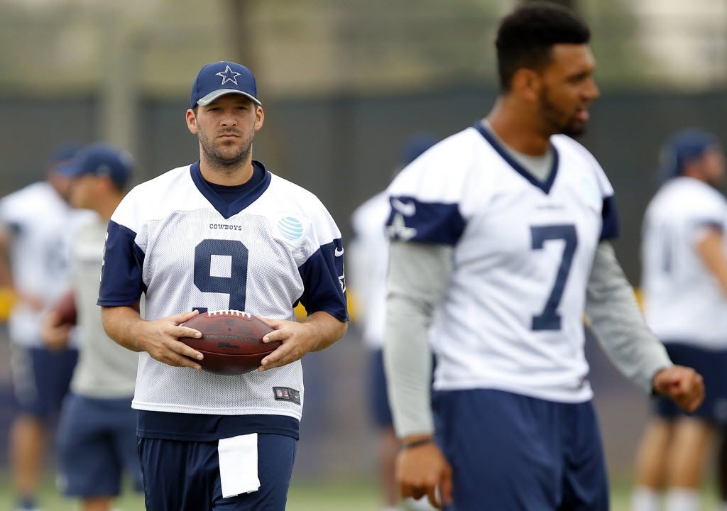 Dallas Cowboys quarterback Tony Romo (9) will sit out of practice today, giving quarterback Jameill Showers (7) more reps during the morning walk-thru at training camp in Oxnard, California, Tuesday, August 9, 2016. (Tom Fox/The Dallas Morning News)