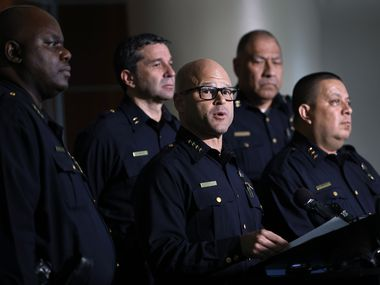 Dallas police Chief Eddie Garcia delivers remarks this week at a news conference.