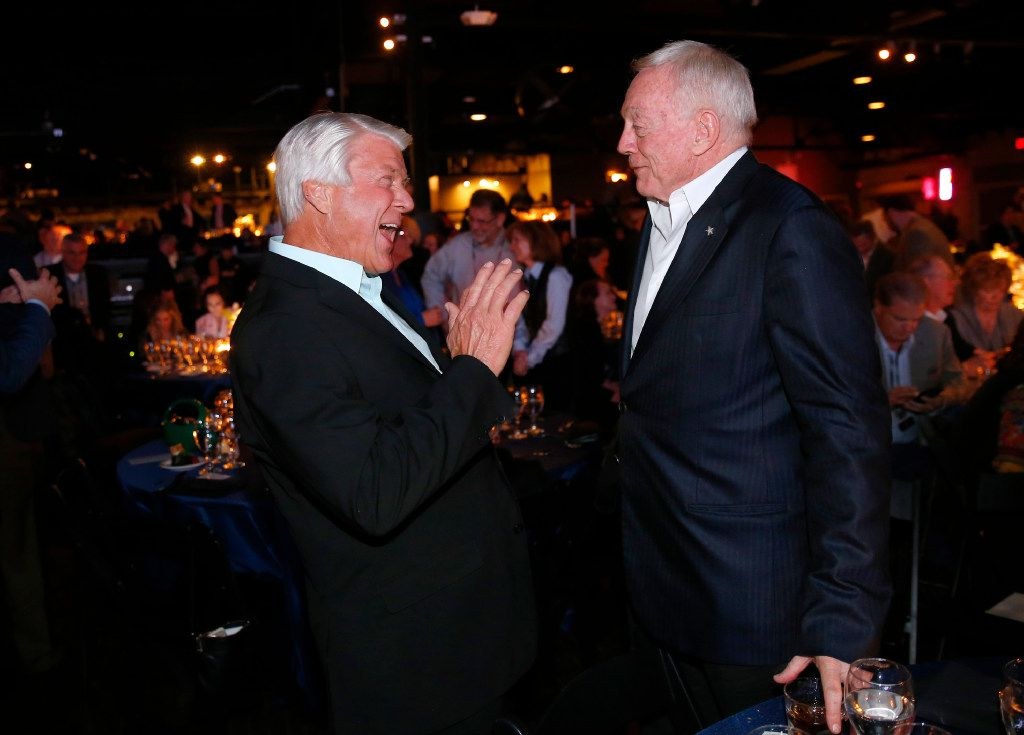 Dallas Cowboys owner Jerry Jones (right) and his former Super Bowl-winning coach Jimmy Johnson visited following the 25th Anniversary of the Dallas Cowboys Super Bowl XXVII at Gilley's in Dallas, Saturday, February 25, 2017. The event was hosted by Troy Aikman and United Way of Metropolitan of Dallas in which he is the new fundraiser. The evening featured appearances by Cowboys legends, a conversation with head coach Jimmy Johnson and other members of the 1992 coaching staff, and a special celebration honoring Jerry Jones for his election to the Pro Football Hall of Fame. (Tom Fox/The Dallas Morning News)
