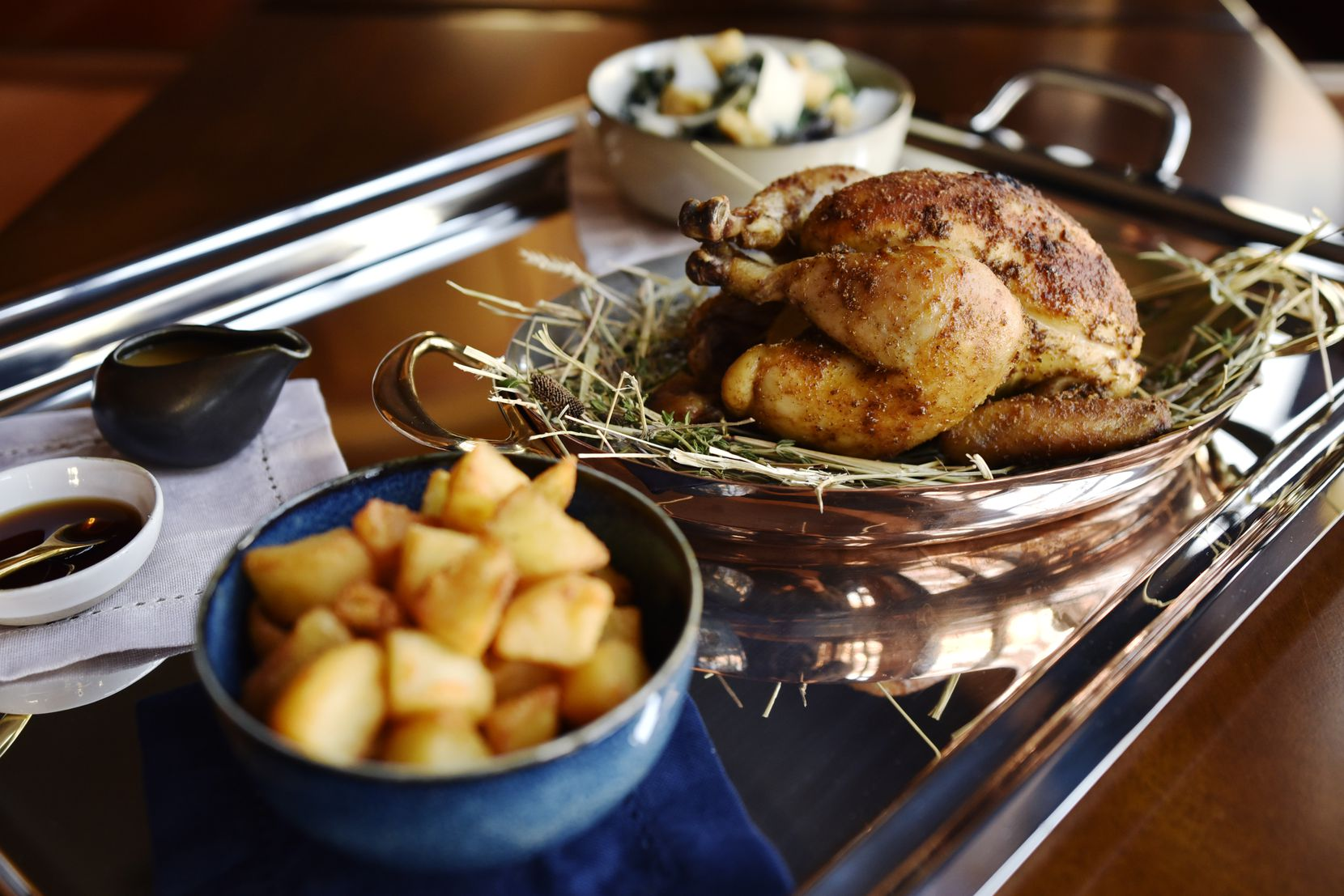 Georgie Rotisserie chicken for two, with two sides of your choice, from the new restaurant Georgie, by Curtis Stone, Nov. 17, 2019 in Dallas. Ben Torres/Special Contributor