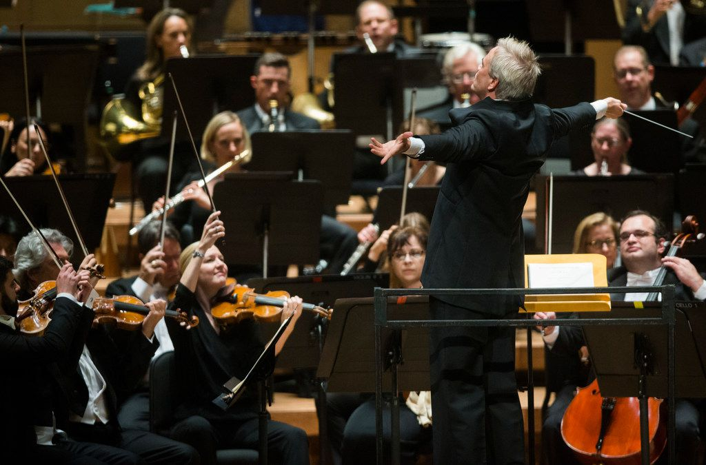 Guest Conductor Hannu Lintu conducts the Dallas Symphony Orchestra's performance of Sibelius' Finlandia, Op. 26, No. 7 on Thursday, September 21, 2017 at the Meyerson Symphony Center in Dallas. (Ashley Landis/The Dallas Morning News)