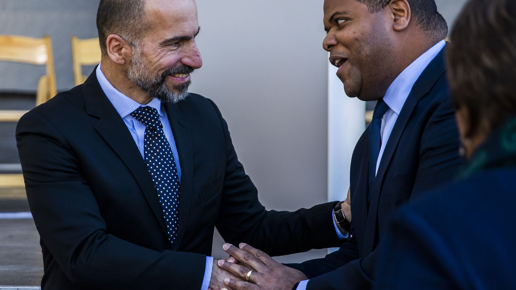 Uber CEO Dara Khosrowshahi (left) greets Dallas Mayor Eric Johnson at a ground breaking ceremony for a new Uber Deep Ellum office on Friday, November 1, 2019 in Dallas. (Ashley Landis/The Dallas Morning News)