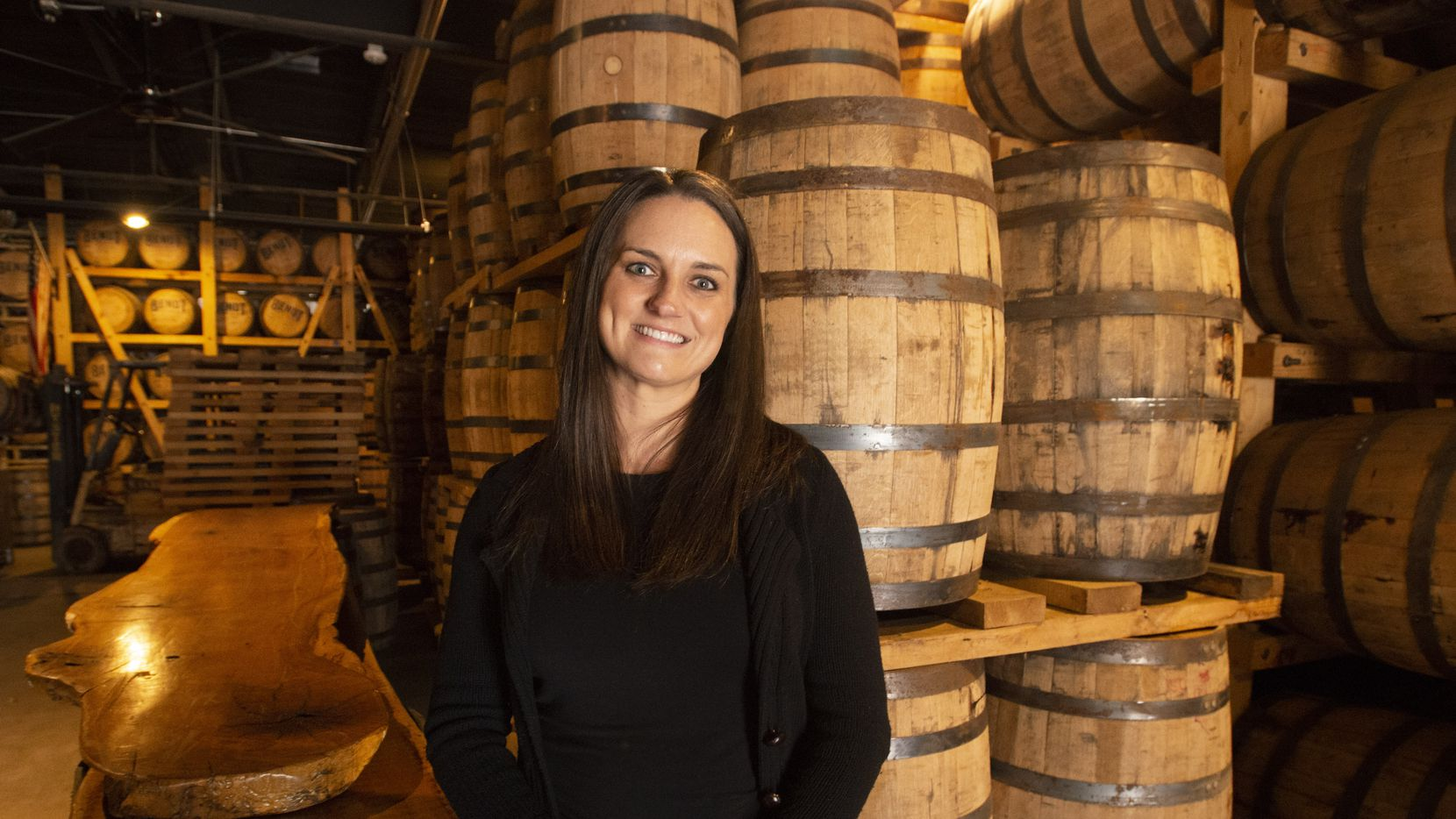 Natasha DeHart, founder and owner of Bendt Distilling Co. in the barrel room on Nov. 13, 2019 in Lewisville, Texas. (Robert W. Hart/Special Contributor)