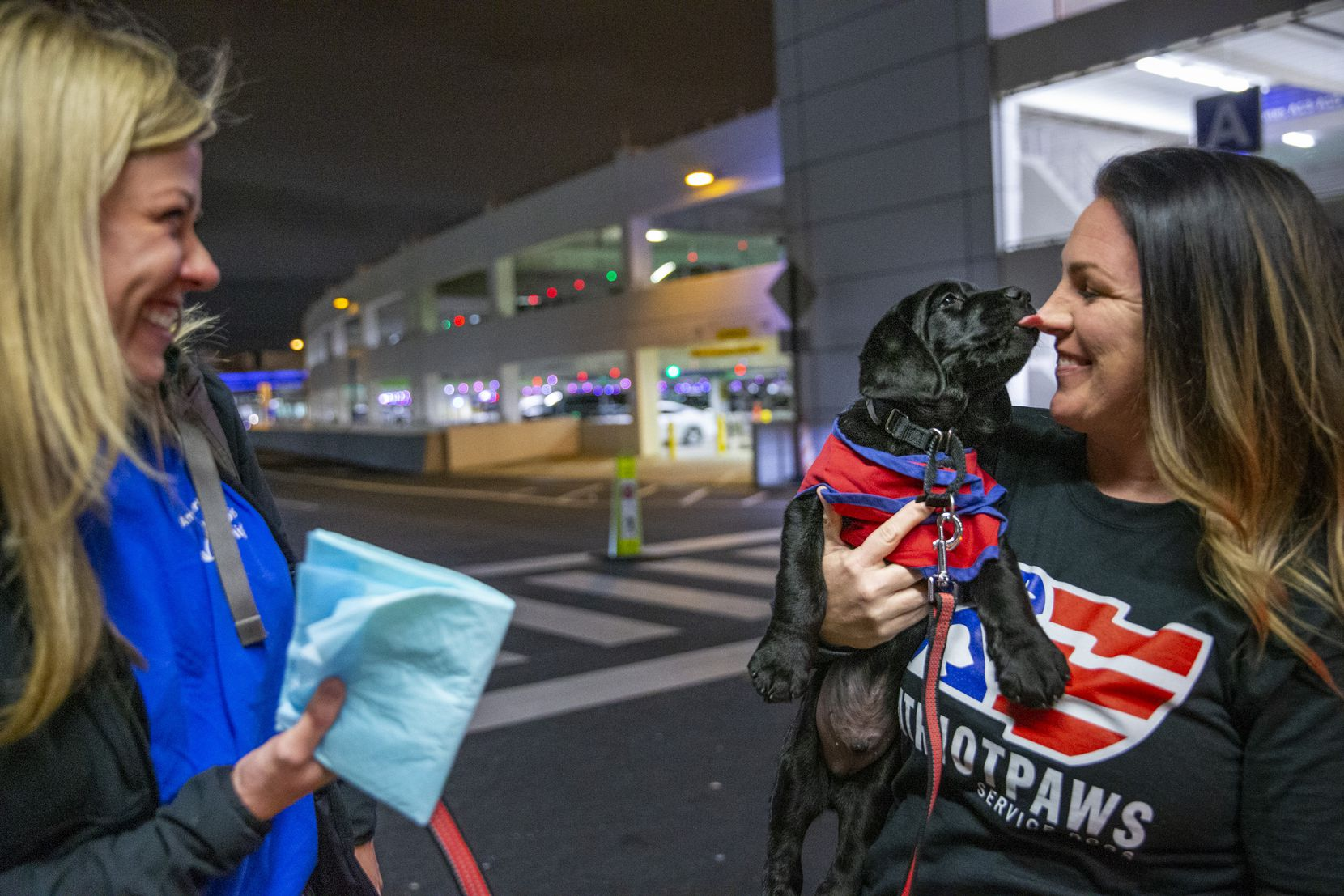 Carrie Robinson (right), a veterinary technician with Patriot Paws in Rockwall, receives an 8-week-old Lab puppy named Pine who was transported to DFW International Airport by American Airlines employee Caroline Clayton (left).