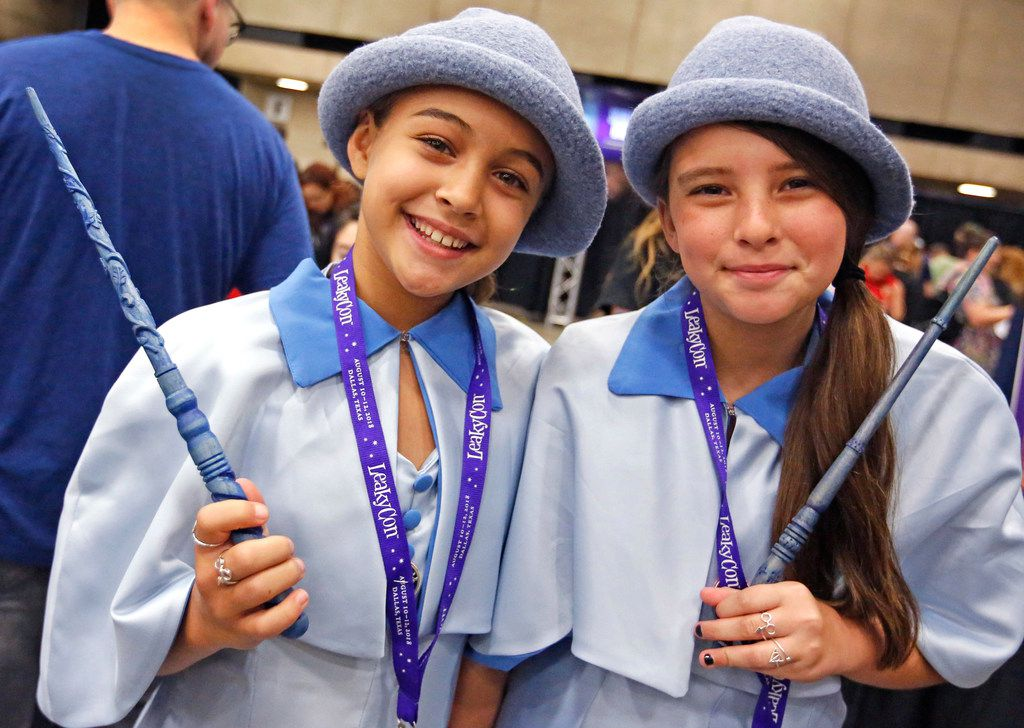 Bailey Albuquerque( left) and Chloe Cole dress as the Beauxbaton girls from Goblets of Fire at LeakyCon.