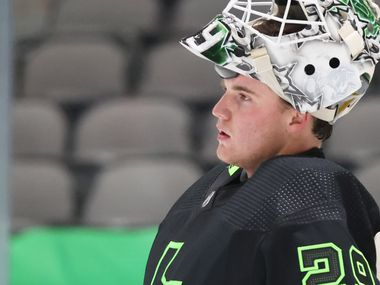 Dallas Stars goaltender Jake Oettinger (29) during a break in play against the Detroit Red Wings in the second period of play at American Airlines Center on Thursday, January 28, 2021 in Dallas.