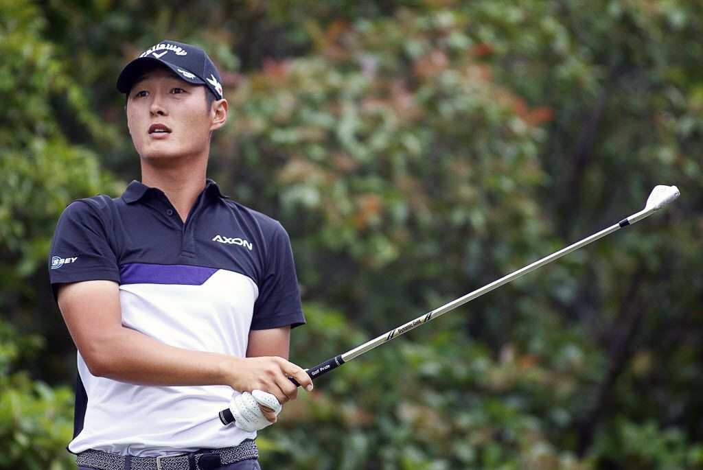 May 19, 2016; Irving, TX, USA;  Danny Lee watches his tee shot on the 5th hole during the first round of the 2016 AT&T Byron Nelson golf tournament at TPC Four Seasons Resort - Las Colinas. Mandatory Credit: Ray Carlin-USA TODAY Sports