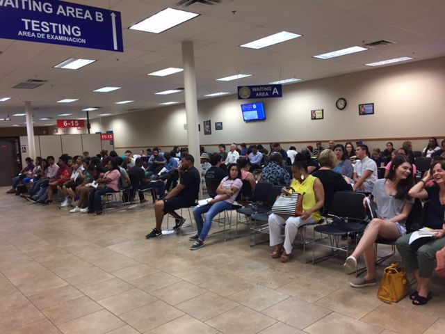 Only a few seats are empty at the driver's license mega center in Garland. The wait on this day, several years ago, for someone without an appointment was three hours,  Watchdog Dave Lieber says.