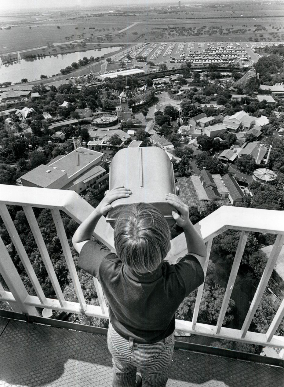 A young visitor looks out the Six Flags Over Texas shortly after the park opened in 1961.