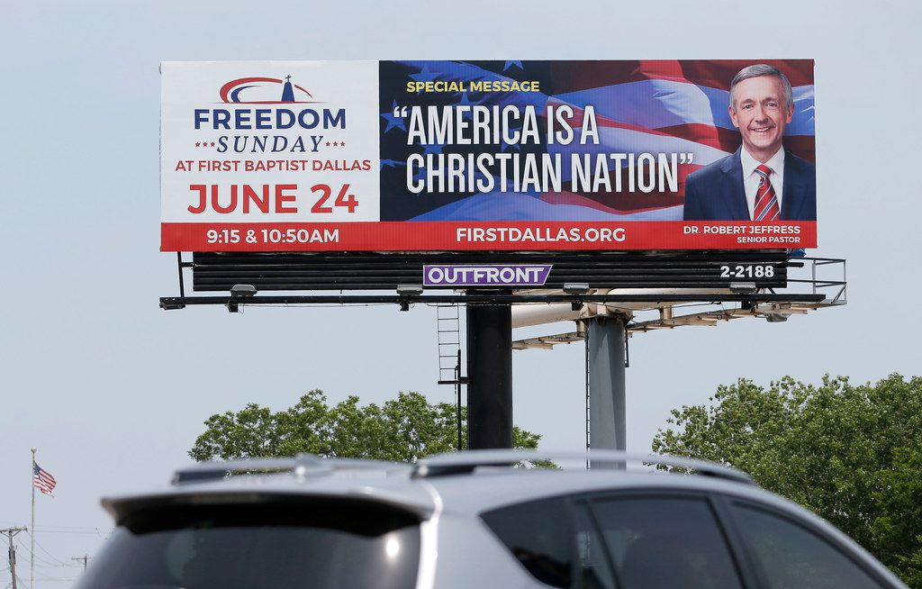 A billboard featuring Robert Jeffress could be seen along the Dallas North Tollway on June 7.