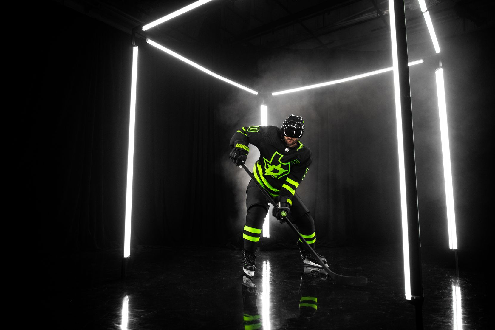 "The Dallas Stars revealed their new third jersey on Wednesday morning, named ""Blackout"" by the team and using a neon green the team called ""Skyline Green."""
