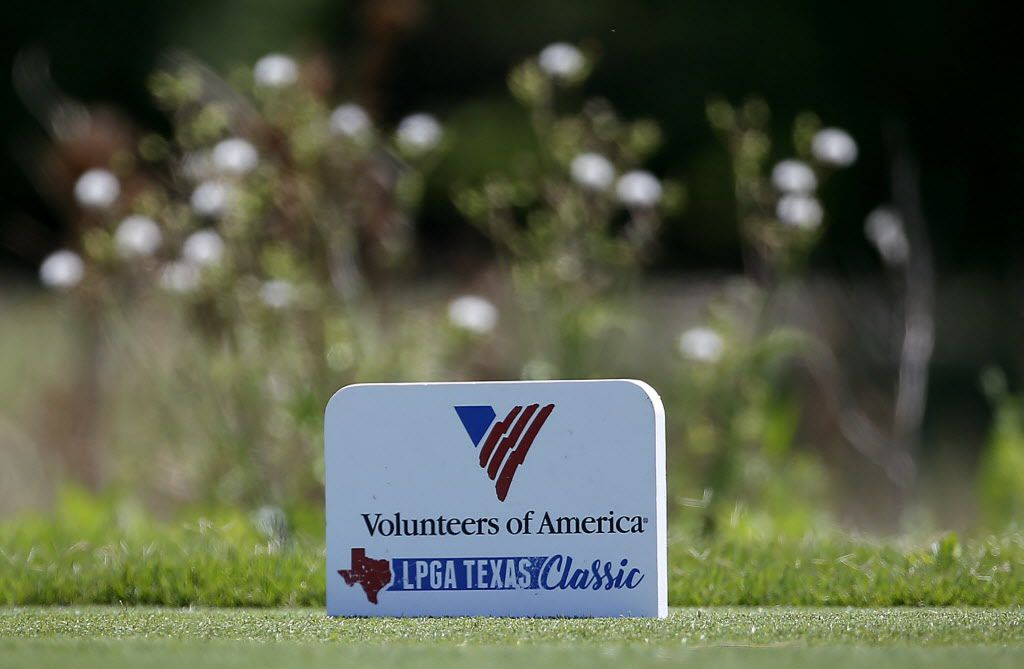 A tee marker is pictured during Volunteers of America LPGA North Dallas Classic at Old American Golf Club in The Colony, Texas, Sunday, May 6, 2018. (Jae S. Lee/The Dallas Morning News)