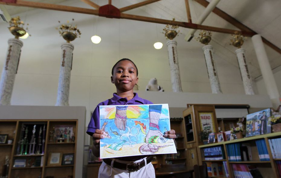 J.P. Starks Elementary fifth grader, Clayton Graves, an 11-year-old DISD student from South Dallas won an art contest designed to draw attention to pollution on Texas beaches. Photographed at J.P. Starks Elementary on April 18, 2012. (Kye R. Lee / The Dallas Morning News)