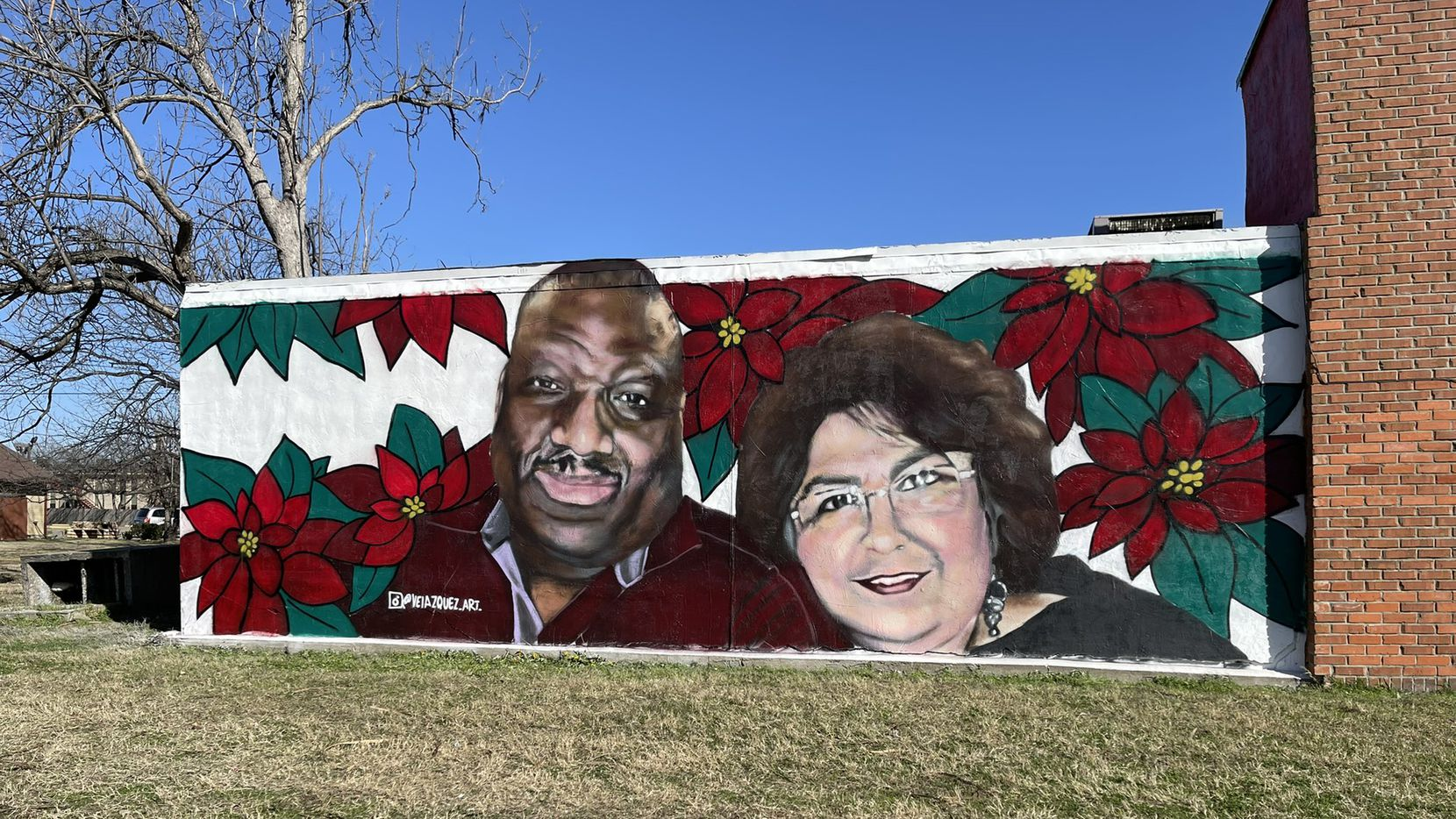 The mural of Paul and Rose Mary Blackwell on display in Grand Prairie. Along with being married, the couple were educators at Grand Prairie ISD.