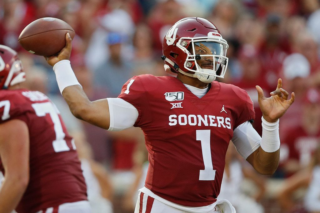 Oklahoma quarterback Jalen Hurts (1) throws in the second quarter of an NCAA college football game against South Dakota Saturday, Sept. 7, 2019, in Norman, Okla.