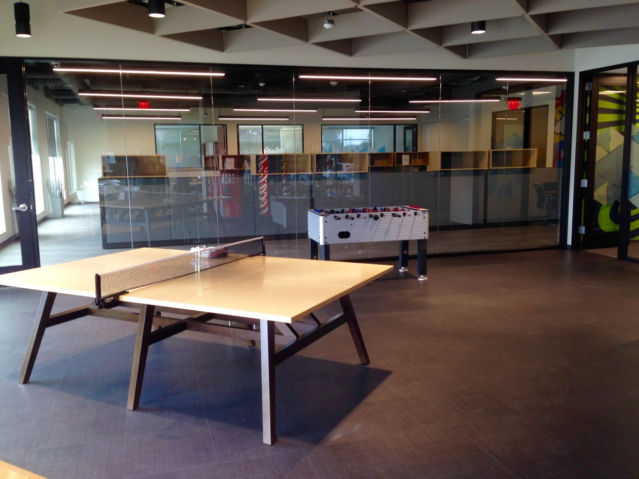 The break area in Stream Energy's new Addison office is complete with game tables.