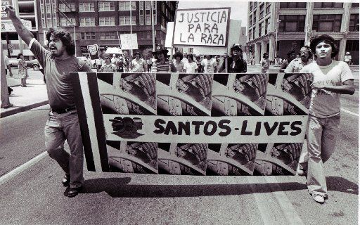 A downtown Dallas protest over the shooting of Santos Rodriguez by a Dallas police officer