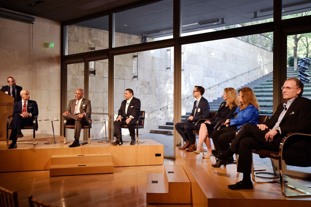 Mayoral candidate Albert Black (second from left) speaks about the issues facing the arts in Dallas communities at the Dallas Mayoral Arts and Cultural Forum at the Nasher Sculpture Center in Dallas on March 25, 2019.