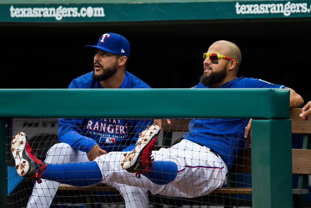 Texas Rangers second baseman Rougned Odor (12) puts his feet up and lays back on the bench in the dugout during the eighth inning of an MLB game between the Texas Rangers and the Houston Astros on Sunday, April 1, 2018 at Globe Life Stadium in Arlington, Texas. (Ashley Landis/The Dallas Morning News)